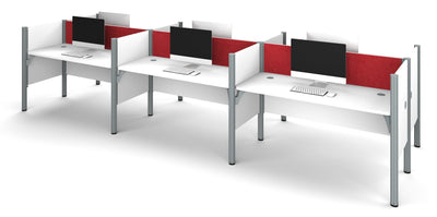 Premium Pro-Biz Six Desk Workstation in White with Red Tack Board