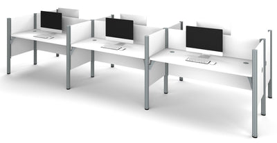 Premium Pro-Biz Six-Desk Workstation in White