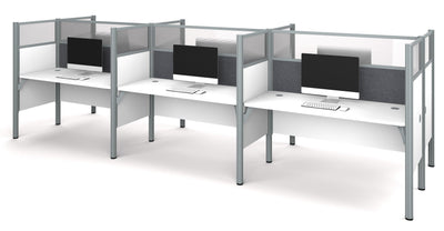 "White Six Desk Workstation with 55"" Privacy Panel with Gray Tack Board"