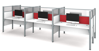 "White Six Desk Workstation with 55"" Privacy Panel with Red Tack Board"