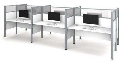 "Pro-Biz White Six-Desk Workstation with 55"" Privacy Panel"