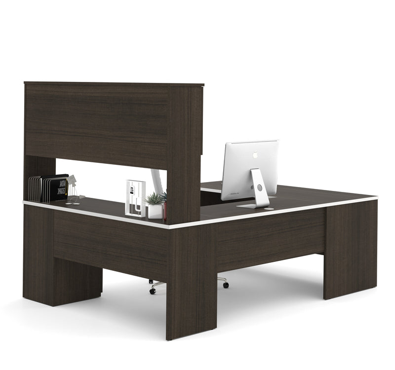 Sleek U Shaped Desk In Dark Chocolate With Nickel Accents