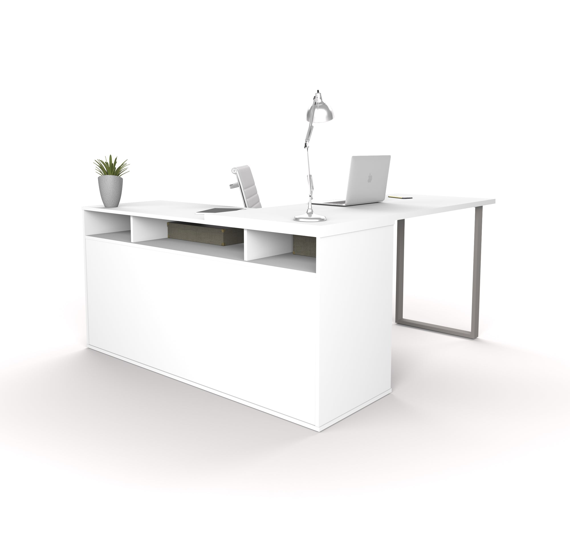 59 X 59 White L Shaped Desk W Integrated Storage By Bestar Officedesk Com