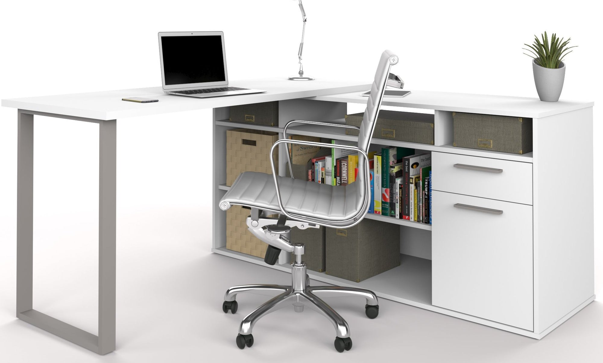 huge discount efa8a a225e Set of 3: L-Shaped Desk, Lateral File, & Bookcase In White Finish