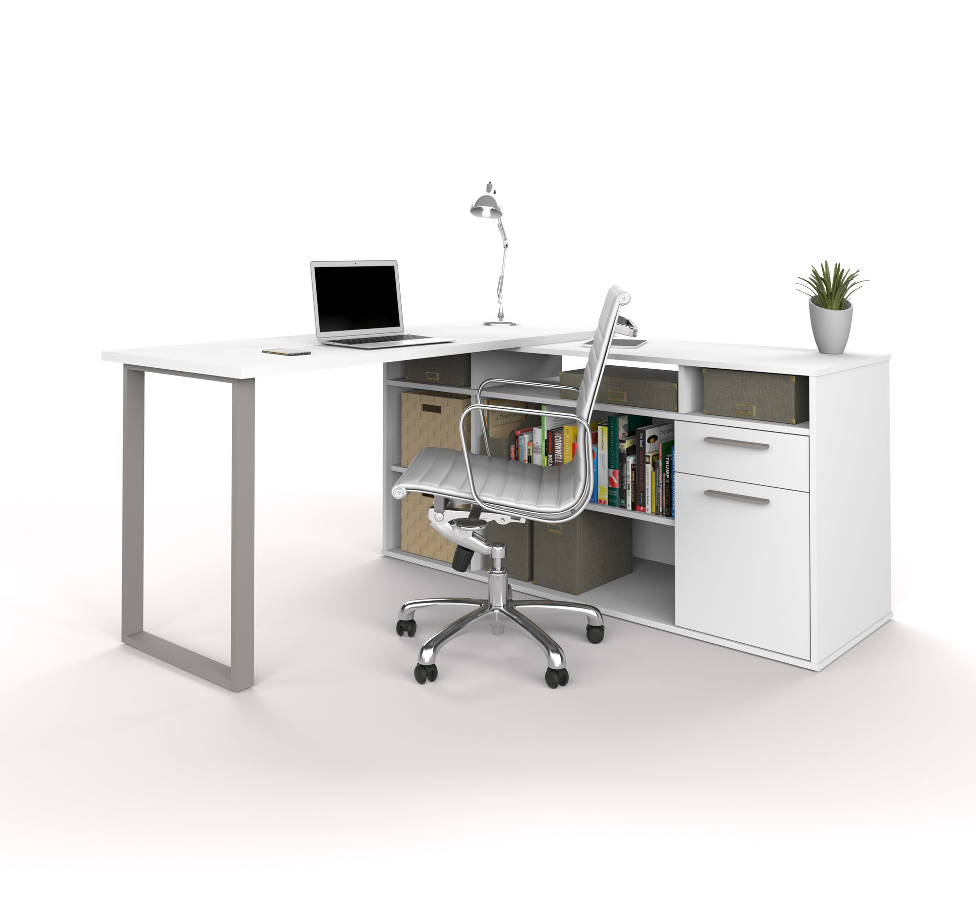 Industrial White L Shaped Desk With Integrated File Open Storage