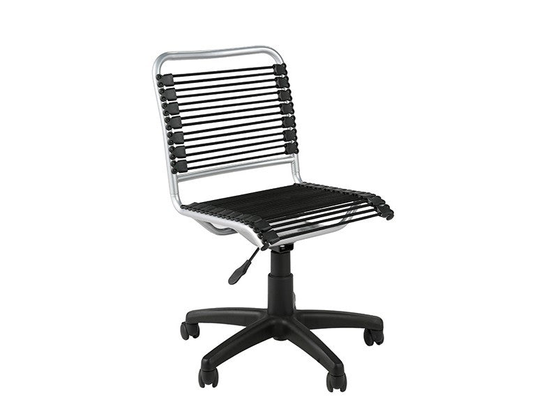 modern armless office chair with chrome frame bungee supports