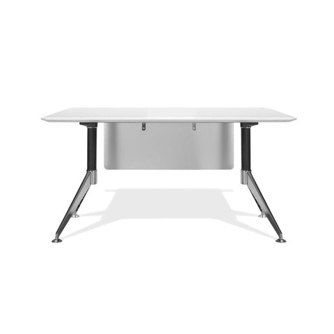 "Modern White Lacquer 55"" Executive Office Desk with Chrome Base"