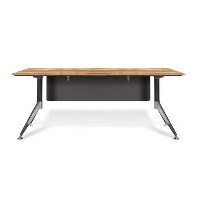 "Modern Zebrano 71"" Executive Office Desk with Chrome Base"