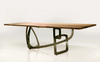 "Modern 102"" Conference Table with Solid Wood Top & Polished Stainless Base"