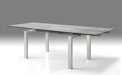 "63 - 95"" Glass & Brushed Stainless Steel Conference Table or Desk"