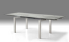 "63 - 95"" Glass & Polished Stainless Steel Conference Table or Desk"
