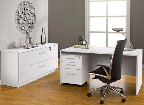 "63"" Modern White Desk with Credenza & Mobile Pedestal"