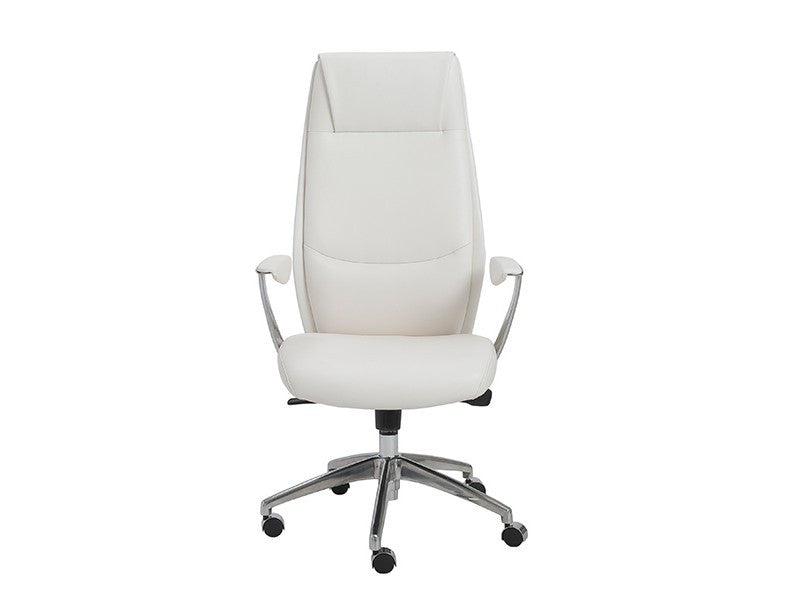 Crosby Collection Modern White High Back Office Chair