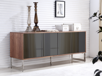 "71"" Modern Walnut Credenza with Mirrored Glass Doors"