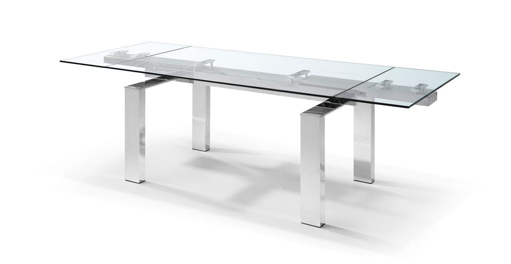 Modern Stainless Steel & Clear Glass Conference Table or Executive Desk  (Extends from 63\