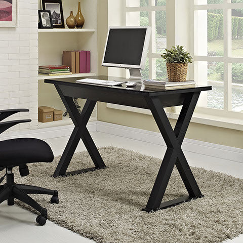 "48"" Black Modern Steel X-Frame Desk with Drawer & Glass Top"