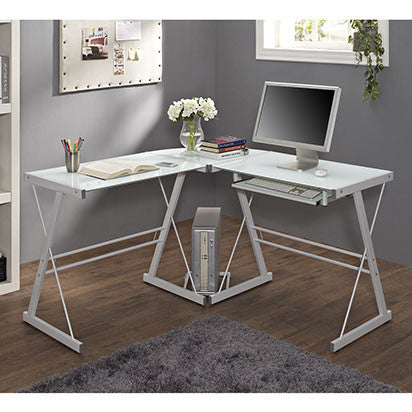 white glass lshaped desk with steel frame
