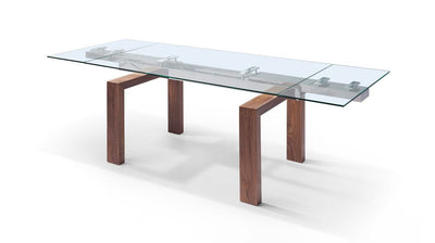 "Modern Glass Conference Table with Solid Wood Legs (Extends from 63"" W to 98"" W)"