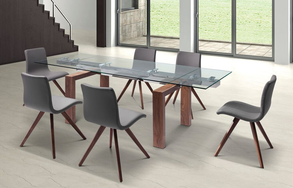 Modern Glass Conference Table With Solid Wood Legs Extends From - Round wood conference table