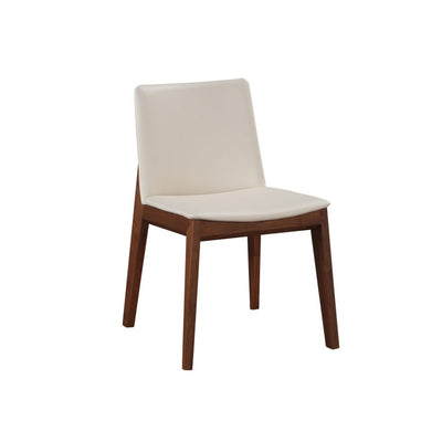 Walnut Guest or Conference Chairs with White Padded Seat (Set of 2)