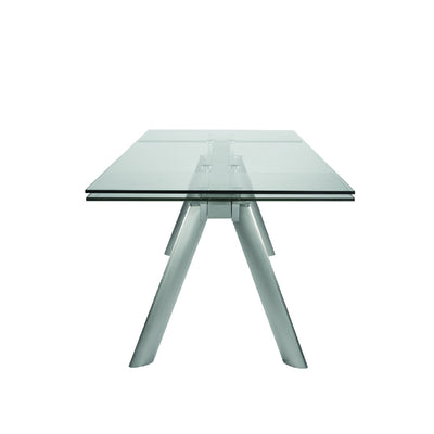 "71"" - 102"" Premium Glass Conference Table with Brushed Stainless Legs"