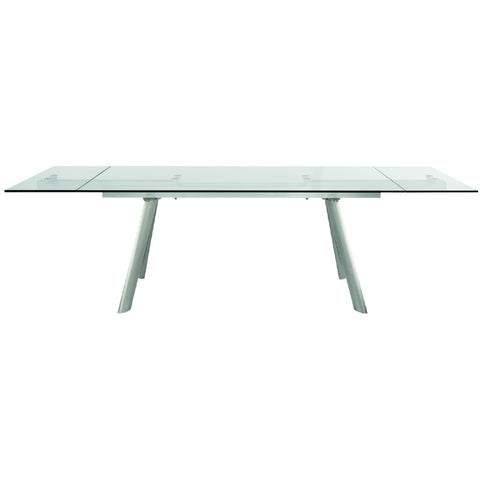 "71"" - 102"" Premium Glass Conference Table with Brushed Satinless Legs"