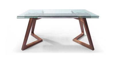 "Elegant Glass Conference Table with Solid Wood Legs (Extends from 63"" W to 95"" W)"