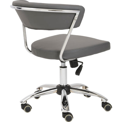 Modern Gray Leather Low Back Office Chair with Chrome Base