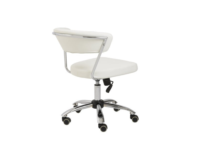 Modern White Leather Low Back Office Chair with Chrome Base