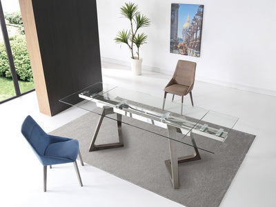 "63 - 95"" Modern Glass Conference Table or Desk with Gray Angled Legs"