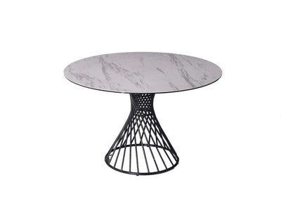 "47"" Round Meeting Table with White Ceramic Top and Steel Base"
