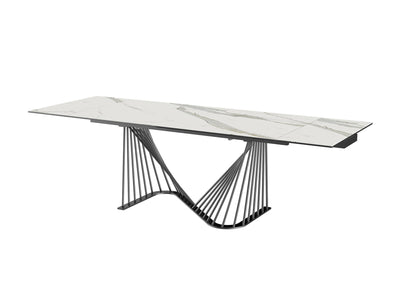 "72"" White Ceramic Glass Table with Black Metal Base (Extends to 102"")"