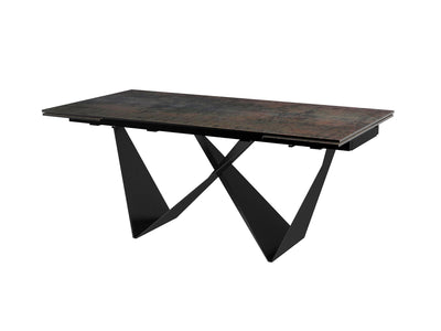 "71"" - 102"" Conference Table with Unique Black Metal Base"