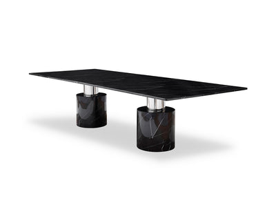 "120"" Black Marble Modern Conference Table with Marble Column Bases"