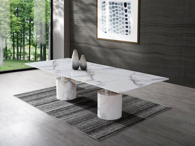 10-foot White Marble Conference Table with Polished Stainless Accents