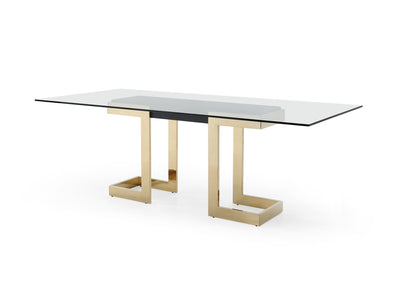 "87"" Glass Desk or Conference Table with Black Lacquer & Gold Stainless Base"