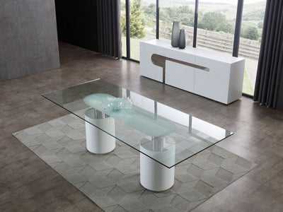 "94"" Modern Glass Conference Table with White Cylindrical Bases"