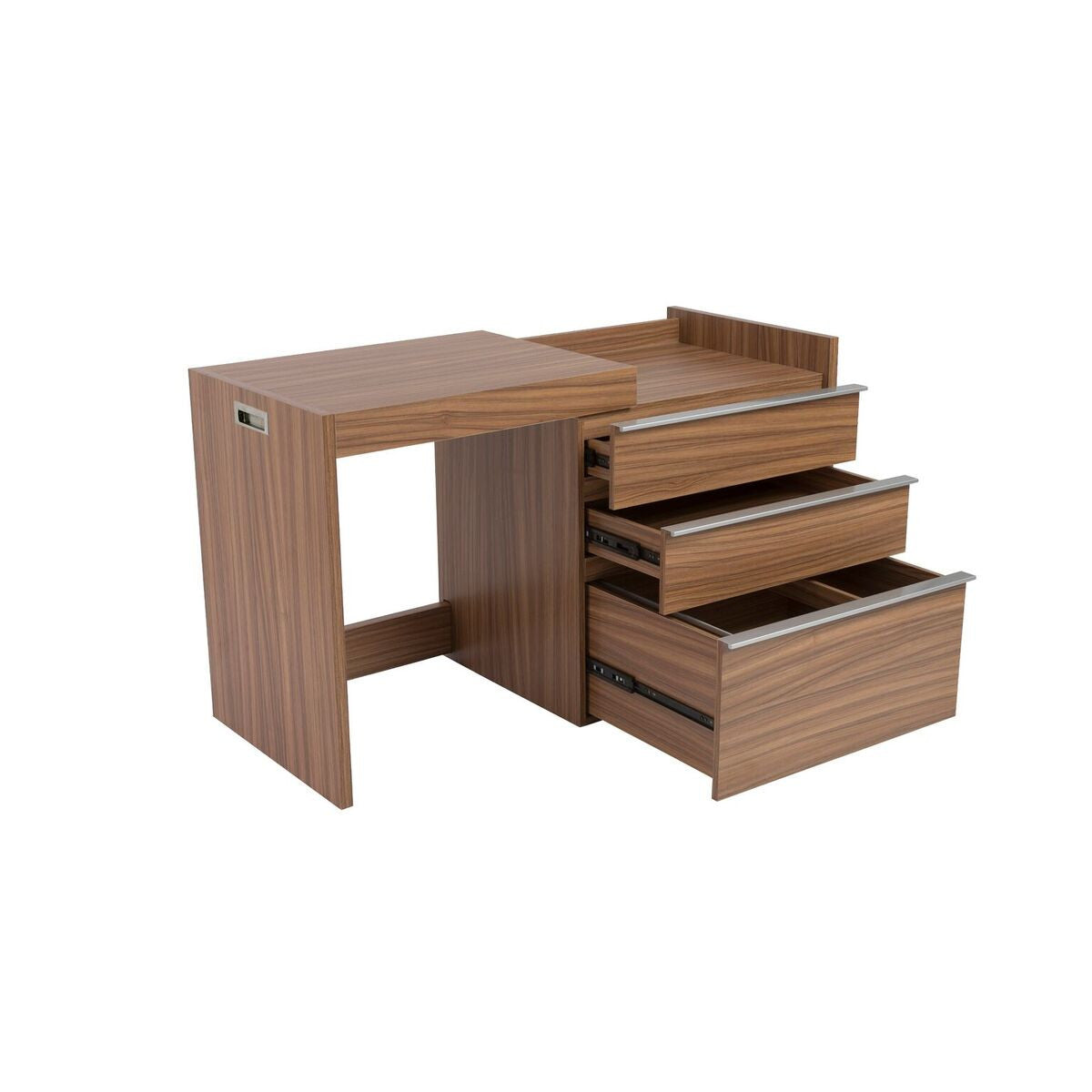 Walnut Convertible Desk / Storage Cabinet With Slide Out Top