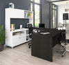 Modern White & Deep Gray U-shaped Desk with Hutch