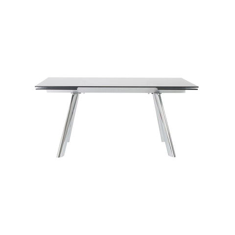 Modern Extending Desk / Conference Table with Smoked Glass Top & Chrome Legs