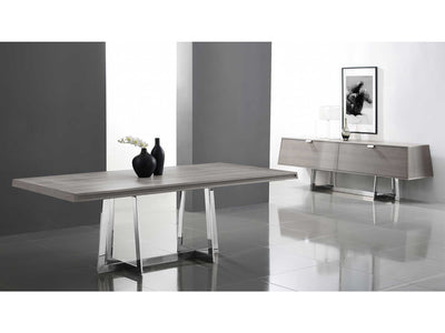 "Modern 84"" Gray Conference Table or Executive Desk with Stainless Base"
