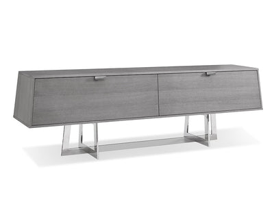 "Gray Oak 84"" Credenza with Polished Stainless Base"