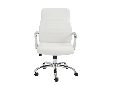 Modern White Leather Office Chair with Chrome Base