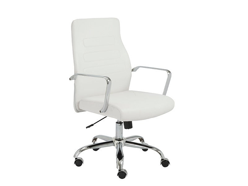 Modern White Leather Office Chair With Chrome Base Officedesk Com