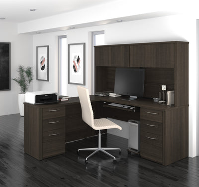 Dark Chocolate L-Shaped Double Pedestal Desk with Hutch