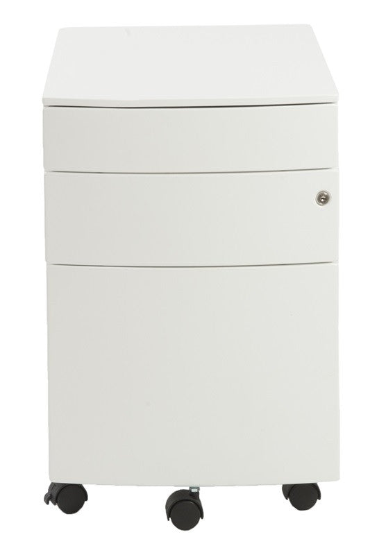 Premium White Mobile File Cabinet with Lock from Euro Style