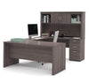 Bark Gray Premium Modern U-shaped Desk with Hutch