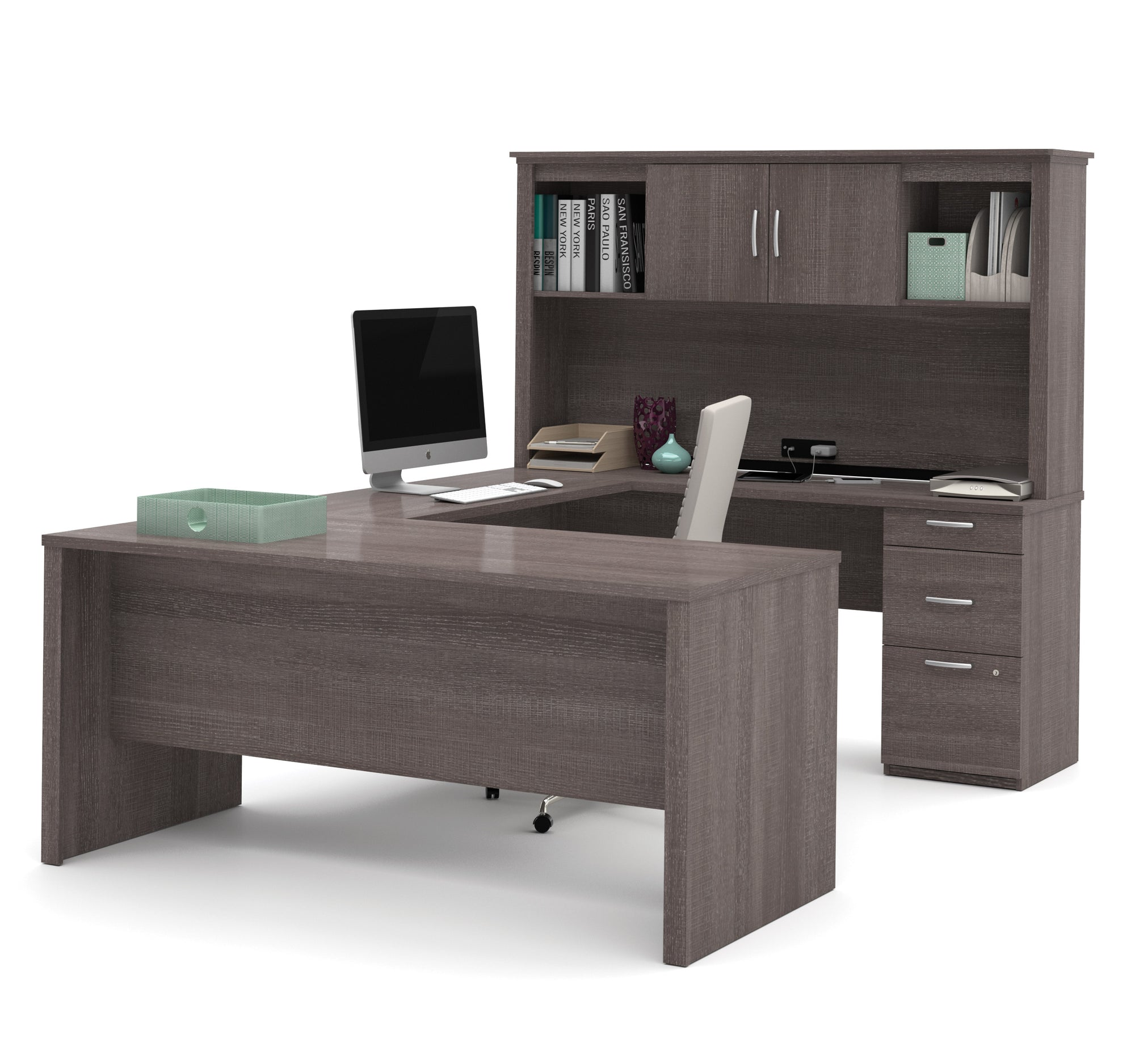 Image of: Bark Gray Premium U Shaped Desk With Hutch By Bestar Officedesk Com