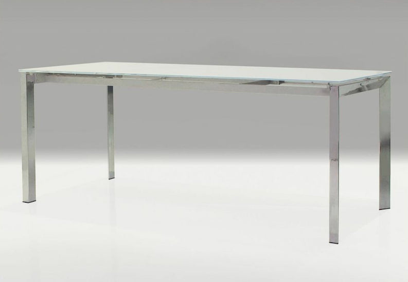 "White Glass & Stainless Steel Executive Desk with Sliding Extension (51"" to 71"" W)"