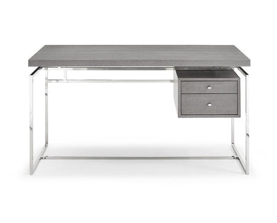 "55"" Gray Oak Veneer Two-Drawer Executive Desk"